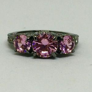 Barbie Pink 3 Crystal Gray Titanium Ring